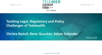 Tackling Legal, Regulatory and Policy Challenges of Telehealth